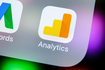 Sankt-Petersburg, Russia, March 21, 2018: Google Analytics application icon on Apple iPhone X screen close-up. Google Analytics icon. Google Analytics application. Social media network