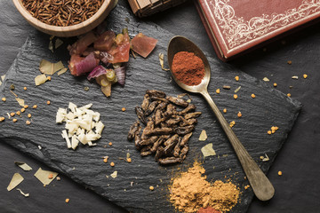 Fototapeta Crispy maggots with spices top view obraz