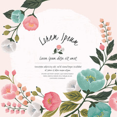 Wall Mural -  Vector illustration of a beatiful floral frame in spring for Wedding, anniversary, birthday and party. Design for banner, poster, card, invitation and scrapbook