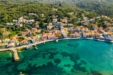 Poster Cote Gaios, capital city of Paxos Island, aerial view. Greece.