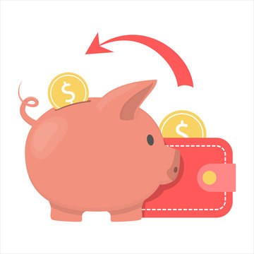 Money falling inside the piggy bank out of the wallet