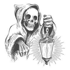 Death in a Hood with Lantern. Vector illustration