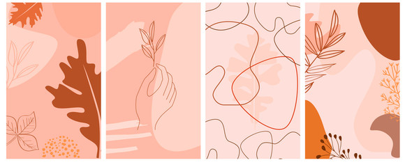 Set of abstract vertical background with autumn elements, shapes, plants and human hands in one line style. Background for mobile app page minimalistic style. Vector illustration