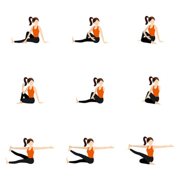 Seated twisted yoga poses set/ Illustration stylized woman practicing twisting seated yoga postures
