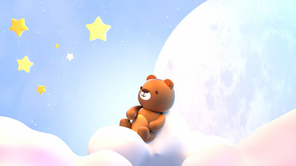 Cute little bear sitting on soft pastel clouds and watching beautiful night sky with stars in front of the white full moon. 3d rendering picture.