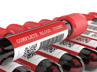 3d render of CBC blood tubes