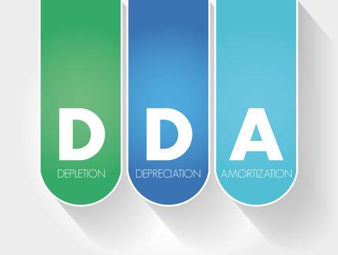 DDA - Depletion Depreciation Amortization acronym, business concept background