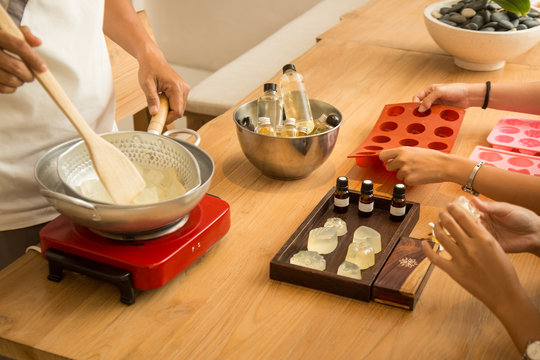 Handmade soap workshop, making organic natural cosmetic