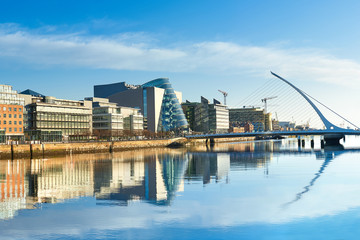 Modern buildings and offices on Liffey river in Dublin