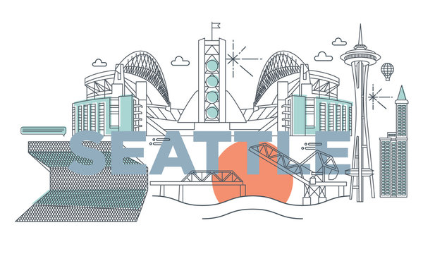 Typography word Seattle branding technology concept. Collection of flat vector web icons. American culture travel set, architectures, specialties detailed silhouette. Doodle USA famous landmarks..