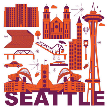 Seattle culture travel set, American famous architectures, USA in flat design. Business travel and tourism concept clipart. Image for presentation, banner, website, advert, flyer, roadmap, icons