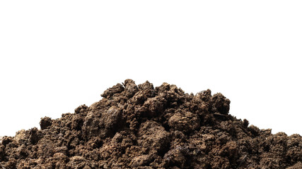 Pile of soil isolated on pure white background with ground suitable for growing plants or gardening. Natural soil piles filled with good minerals or natural pH. Fototapete