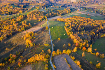 Aerial picture of a countryside village road