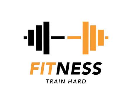 Fitness gym logo sign, bodybuilding club emblem template