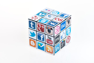 Kiev, Ukraine - February 2, 2013: A Rubik's Cube puzzle with logotypes of well-known social media brand's. Include Facebook, YouTube, Twitter, Google Plus, Instagram and other logos.