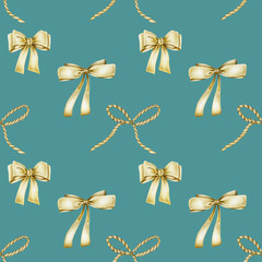 Seamless pattern of golden bows, hand drawn on a blue background