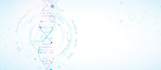 Science template, wallpaper or banner with a DNA molecules. Vector illustration Wall mural