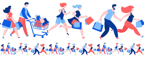 Women men crowd running purchase buy paper bags . Summer sale discount black friday start .