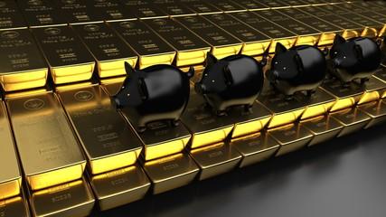 Fototapete - Piggy Banks Fine Gold Bars Growth