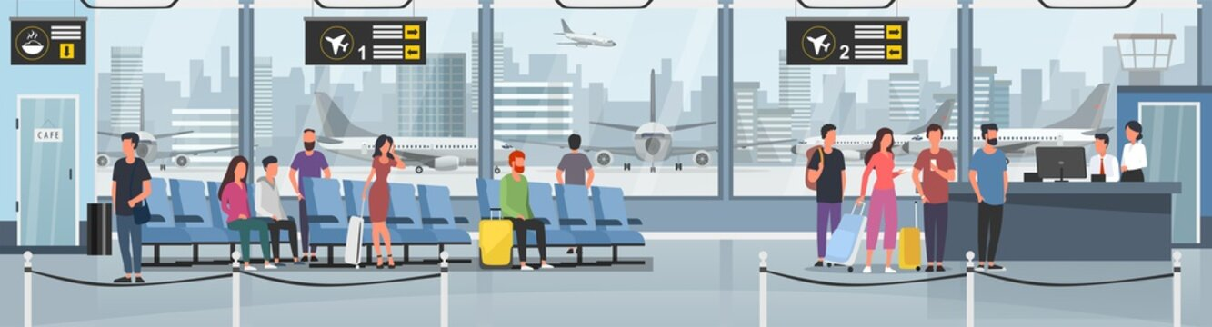 Modern international airport vector illustration. Passengers with luggage in arrival waiting room or departure lounge with chairs, information panels. Terminal hall with big window flat style concept