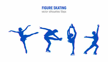 Figure skaters silhouettes with glitch effect. Winter sport illustration. Athletes in motion vector images. Elements of figure skating.