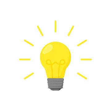 burning yellow light bulb in flat style