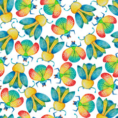 watercolor beetles pattern