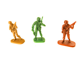 miniature toy soldiers isolated on white background.