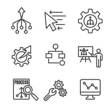 Workflow Efficiency Icon Set - has Operations, Processes, Automation, etc