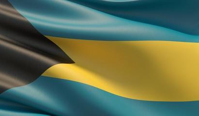High resolution close-up flag of Bahamas. 3D illustration.