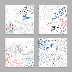 Collection of floral cards. Vector