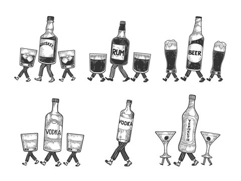 Whiskey beer vodka alcohol vermouth bottle with ice and glasses walks on its feet sketch engraving vector illustration. Scratch board style imitation. Black and white hand drawn image.