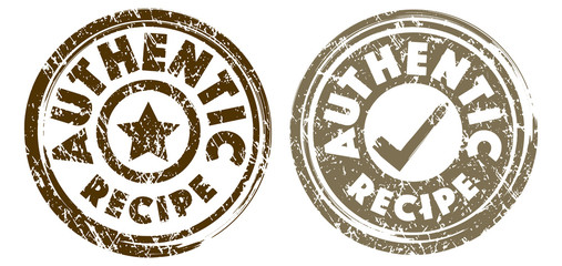 Authentic Recipe stamps in dark brown and light brown colors. Grunge texture. Vector illustration.