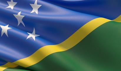 High resolution close-up flag of Solomon Islands. 3D illustration.