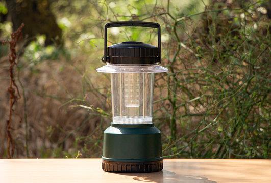 Modern lantern in the camp