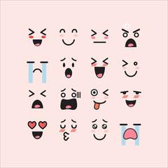 Set of facial emoticons