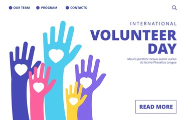 Volunteer day landing page. Vector volunteering banner template. Illustration volunteer day support, charity and help