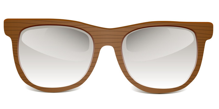 wooden sunglasses or eyeglasses frame - vector illustration
