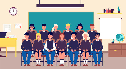 Class group portrait. Classmates, student in classroom. Teenagers in school uniform photo for memory. Education cartoon vector concept. Together classmate photo memory, students classroom illustration