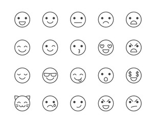 Emotions flat line icons set. Happy face, sad, anger, smile, facial expression emoticon vector illustrations. Outline signs for customer experience feedback. Pixel perfect 64x64. Editable Strokes