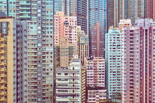 Many tall residential buildings in central Hong Kong
