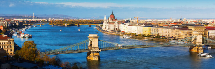 Historical center of Budapest with Chain Bridge and Parliament