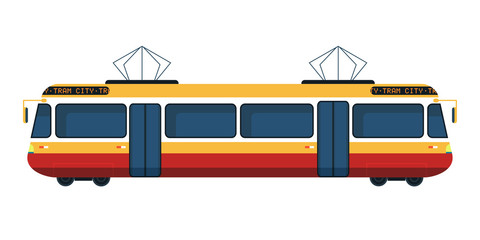 City tram flat vector illustration