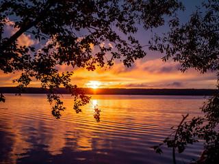 Orange summer sunset on the Russian river Volga