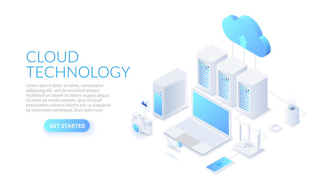 Isometric cloud technology with datacenter, laptop and other devices. Web hosting concept.