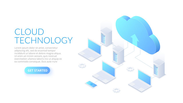 Isometric cloud technology with datacenter and laptops. Web hosting concept. Landing page template.