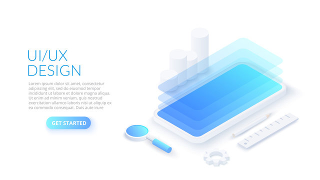 UX / UI isometric design concept with smartphone. Landing page template. Mobile app or website wireframe.