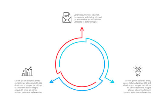 Thin line cycle infographic with arrows. Modern concept design template with 3 options, steps or parts. Flat vector illustration for business presentation.