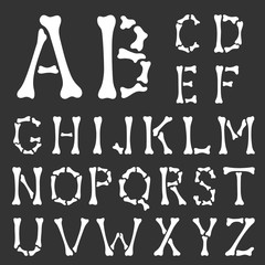 Alphabet. Capital letters made of bones on a black background. Hand drawing style. Vector illustration