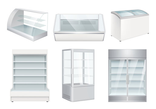 Refrigerator empty. Supermarket retail equipment vector realistic refrigerators for store. Refrigerator for retail or supermarket, showcase for cafe illustration